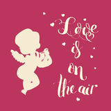 Cupid Love silhouette with harp and Love is on the air Stock Image