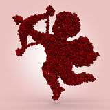 Cupid made of roses. Cupid made of red roses on pink background stock illustration