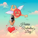 Cupid in mask aims gun at frame. Valentine`s day.