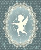 Cupid medallion. With lace frame. EPS 10 illustration in grunge style Stock Images