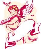 Cupid moderno con la bandiera Fotografia Stock