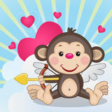 Cupid Monkey. With a bow on a background of clouds and hearts vector illustration