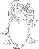 Cupid Over a Heart Shape Sign. Coloring Page royalty free illustration