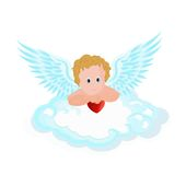 Cupid pendant in the clouds with hearts Stock Photography