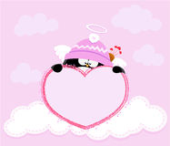 Cupid Penguin Holding Heart Royalty Free Stock Images