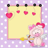 Cupid Pig with frame Royalty Free Stock Photos