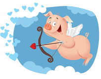 Cupid Pig Vector Funny Cartoon Royalty Free Stock Photography