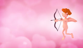 Cupid. In the pink sky Royalty Free Stock Photos