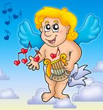Cupid playing harp on sky Royalty Free Stock Photography