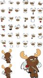 Cupid plush little moose cartoon expressions set Royalty Free Stock Images