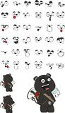 Cupid plush little panther cartoon expressions set Stock Photos