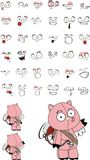 Cupid plush little pig  cartoon expressions set Stock Photos