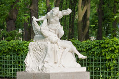 Cupid and Psyche. Sculpture of Cupid and Psyche. Unknown Italian sculptor of the XVIII century, a copy of, old park Summer garden in St.Petersburg, Russia Stock Photography