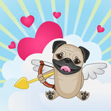 Cupid Pug Dog. With a bow on a background of clouds and hearts royalty free illustration