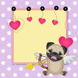 Cupid Pug Dog with frame Royalty Free Stock Photos