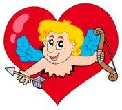 Cupid que espreita do coração Fotografia de Stock