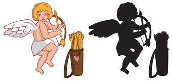 Cupid with a quiver and silhouette Royalty Free Stock Photography