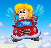 Cupid in red car on sky Stock Photography
