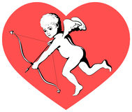 Cupid on red heart Royalty Free Stock Photo