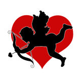 Cupid with red heart. Cupid with bow and arrow with red heart illustration Royalty Free Stock Images