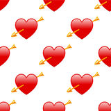 Cupid Red Heart & Arrow Seamless Pattern Royalty Free Stock Photos
