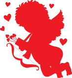 Cupid Red Silhouette Stock Photography