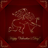Cupid. Red valentines background with golden cupid and floral elements, illustration Stock Illustration