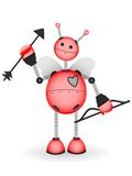 Cupid Robot Hold Bow Arrow Vector Illustration Stock Image