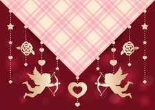 Cupid ,rose,star and heart hang on Scottish fabric vector art design for wedding card  Royalty Free Stock Images