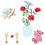 Cupid, roses, pink teddy bear and champagne. Valentine`s Day holiday elements. Cupid and pink teddy bear toy holding a diamond ring. Vase with roses and two stock illustration