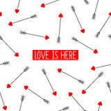 Cupid's arrows card with text Love is here. Royalty Free Stock Photo