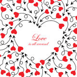 Cupid's arrows and heart. Arrows with red hearts illustration. Cute arrows background vector illustration