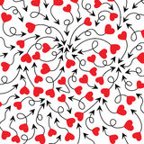 Cupid's arrows and heart. Arrows with red hearts  illustration. Cute arrows background Stock Photography