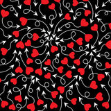 Cupid's arrows and heart,. Arrows with red hearts  illustration. Cute arrows on black background Royalty Free Stock Images