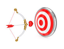 Cupid's bow and red target. Stock Photo