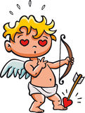 Cupid s dart. Cupid shooting a dart on himself Stock Image