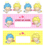 Cupid's love and an baby angel Mascot. Angel Character Design Se Stock Photography