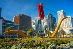 Cupid's Span statue, San Francisco. SAN FRANCISCO, USA - DEC 15: Cupid's Span statue by famous artists Claes Oldenburg and Coosje van Bruggen in Rincon Park with royalty free stock images