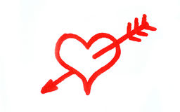 Cupid's work. Handwritten red heart penetrated with arrow vector illustration