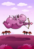 Cupid safari purple hippopotamus Royalty Free Stock Images