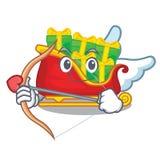 Cupid santa sleigh with piles presents cartoon stock illustration