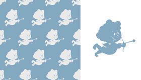 Cupid seamless pattern. Silhouette of Cupid. Cute Angel with bow Royalty Free Stock Photos