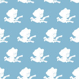Cupid seamless pattern. White Angel on blue background.  Stock Photography