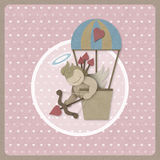 Cupid shoot bow in hot air balloon retro background, recycled pa Stock Images