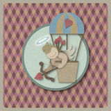Cupid shoot bow in hot air balloon retro background, recycled pa Royalty Free Stock Images