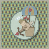 Cupid shoot bow in hot air balloon retro background, recycled pa Royalty Free Stock Photos