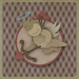Cupid shoot bow love heart on vintage background, recycled paper Stock Photo