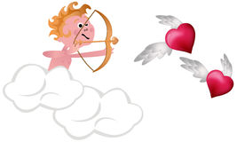 Cupid Shooting Hearts Stock Images