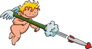Cupid. Shooting a missile of love Royalty Free Stock Image