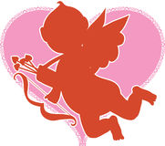 Cupid Silhouette. Red Silhouette of Cupid on a Pink Heart Stock Photo